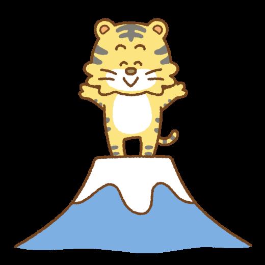 富士山の上に立つトラのイラスト