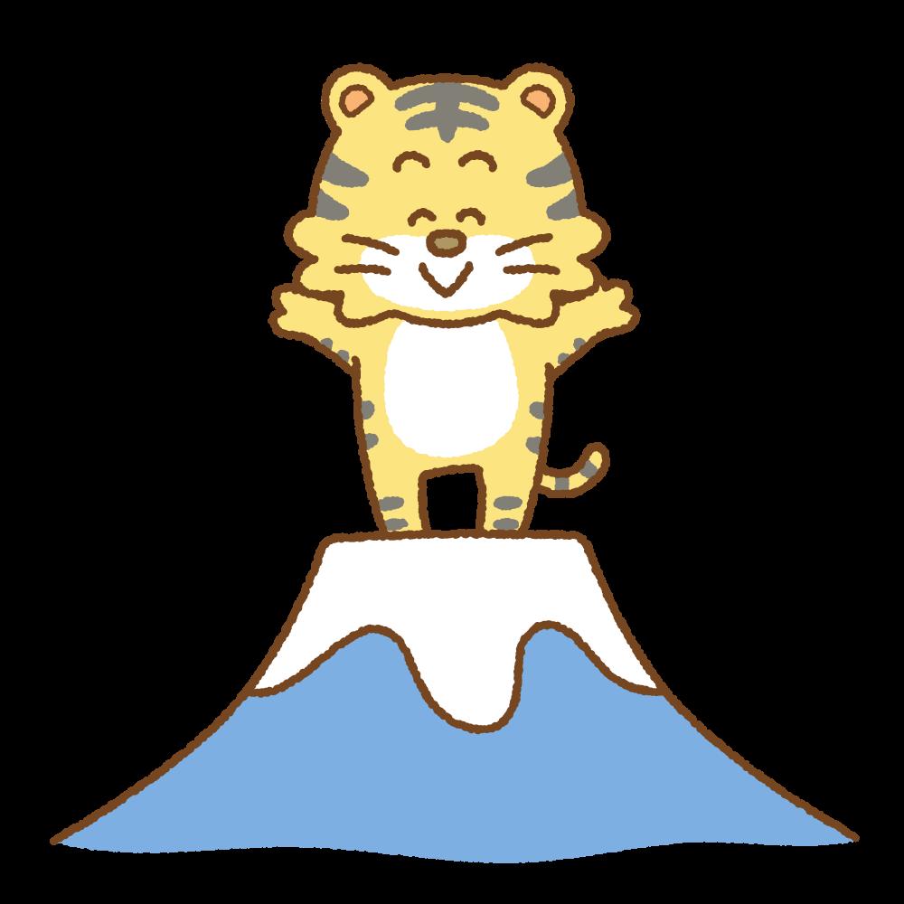 富士山の上に立つトラのフリーイラスト Clip art of tiger fujisan