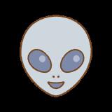 笑う宇宙人グレイの顔のイラスト
