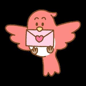 ラブレターをくわえた鳥のフリーイラスト Clip art of bird-loveletter