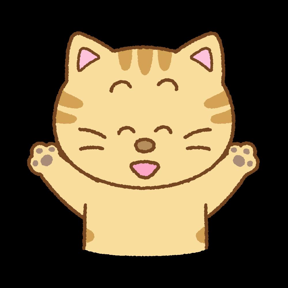 喜ぶネコのフリーイラスト Clip art of cat-glad