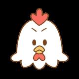 怒るニワトリの顔のイラスト