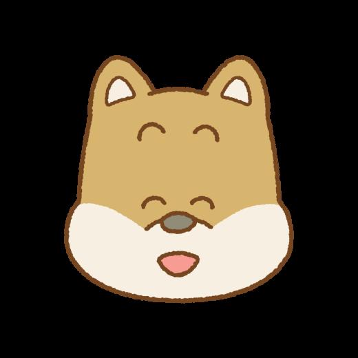 笑うイヌの顔のイラスト