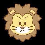 ライオンの顔のフリーイラスト Clip art of lion face