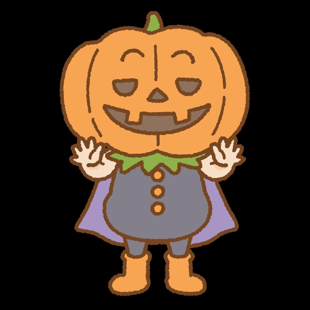 パンプキンマンのフリーイラスト Clip art of pumpkin-man