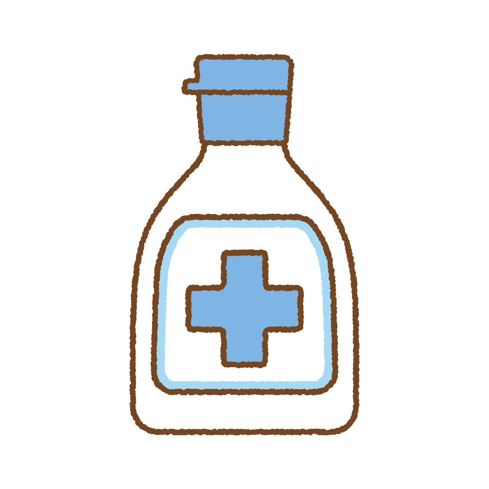 傷の消毒液のフリーイラスト Clip art of antiseptic-wound