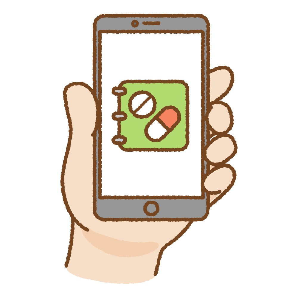 おくすり手帳アプリのフリーイラスト Clip art of medicine-app