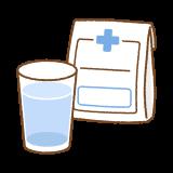 薬と水のフリーイラスト Clip art of medicine-n-water