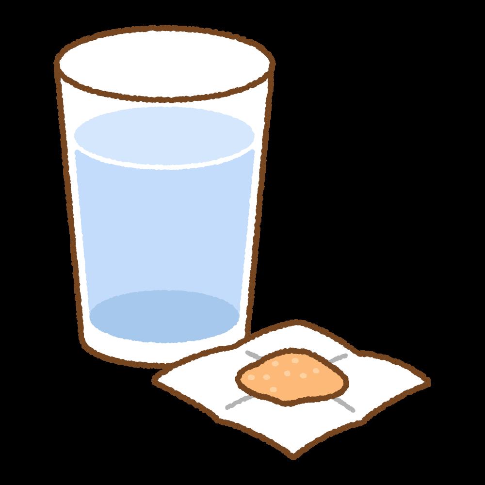 粉薬と水のフリーイラスト Clip art of powder-medicine & water