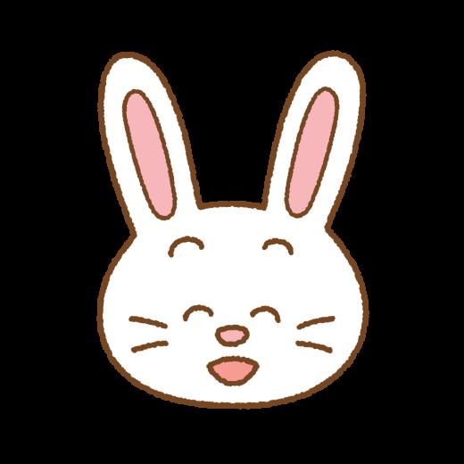 笑うウサギの顔のイラスト