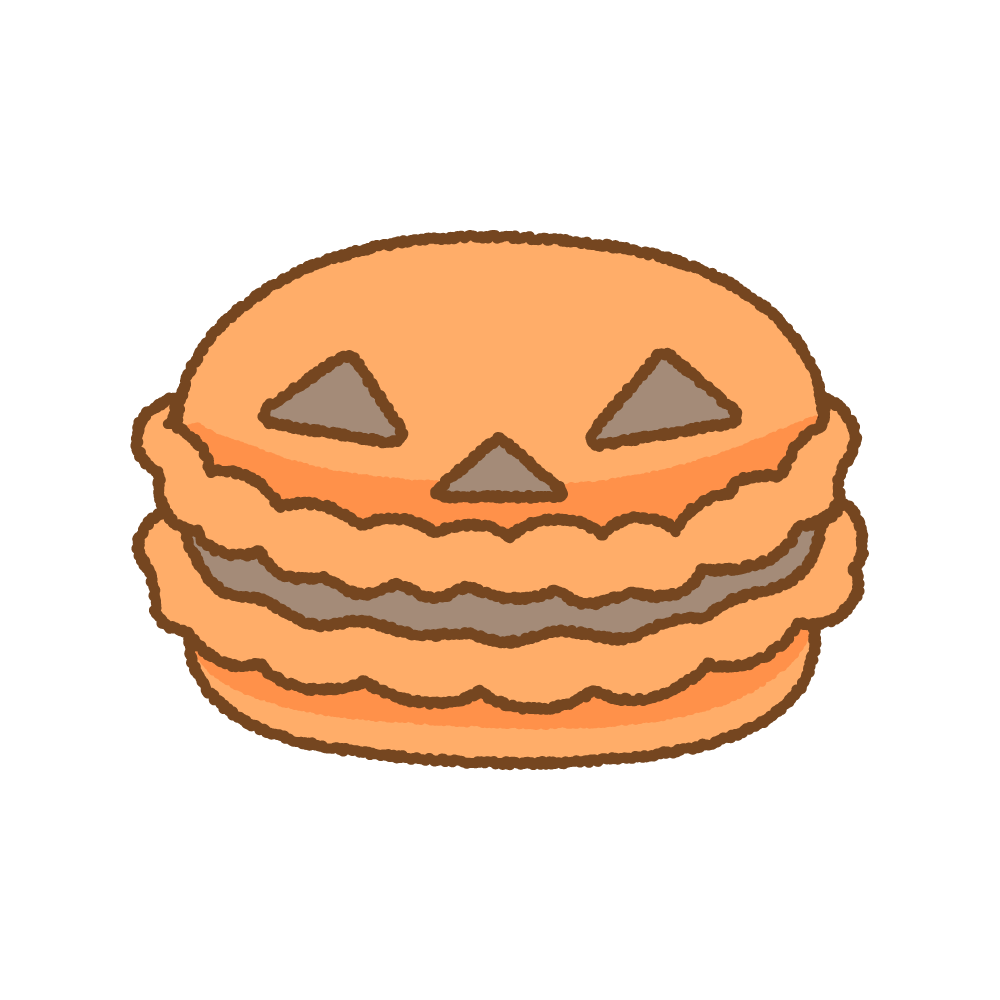 ハロウィンマカロンのフリーイラスト Clip art of halloween-macaron