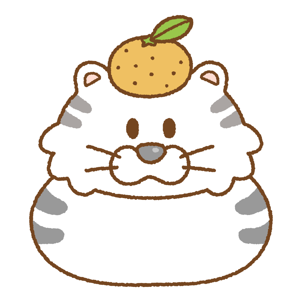 トラの鏡餅のフリーイラスト Clip art of tiger-kagamimochi