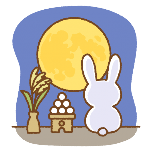 お月見するウサギのイラスト