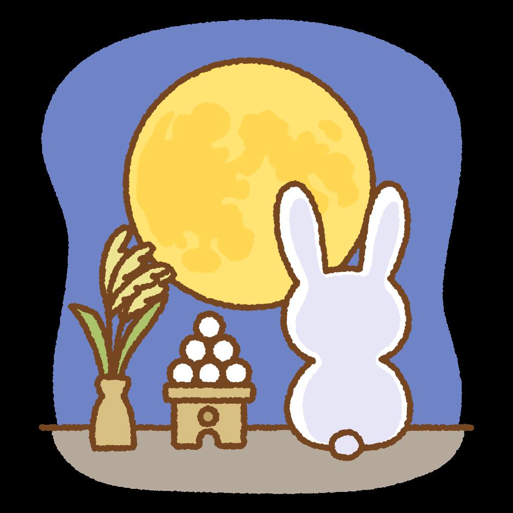 お月見するウサギのイラスト Clip art of tsukimi-usagi