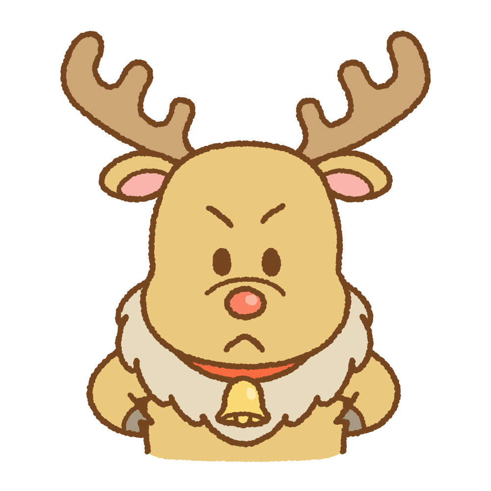怒るトナカイのフリーイラスト Clip art of reindeer-angry