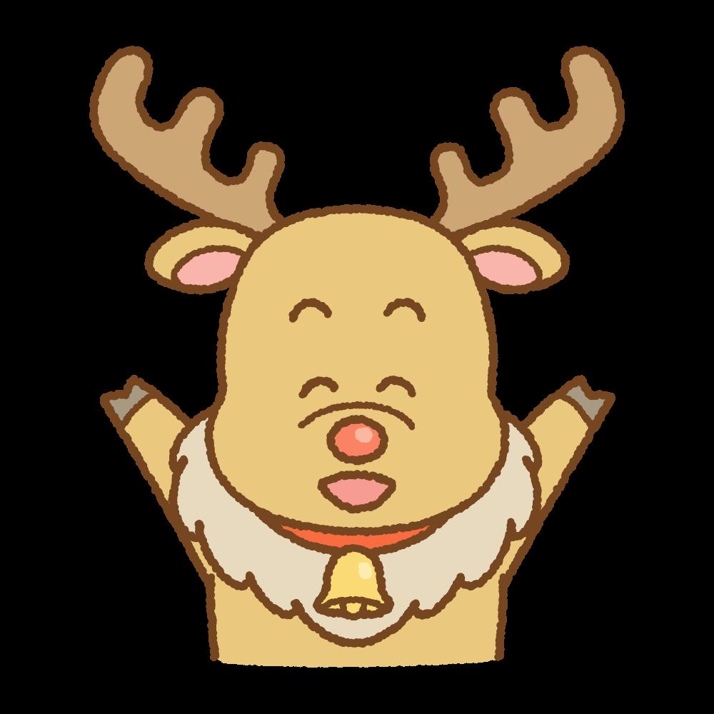 喜ぶトナカイのフリーイラスト Clip art of reindeer glad