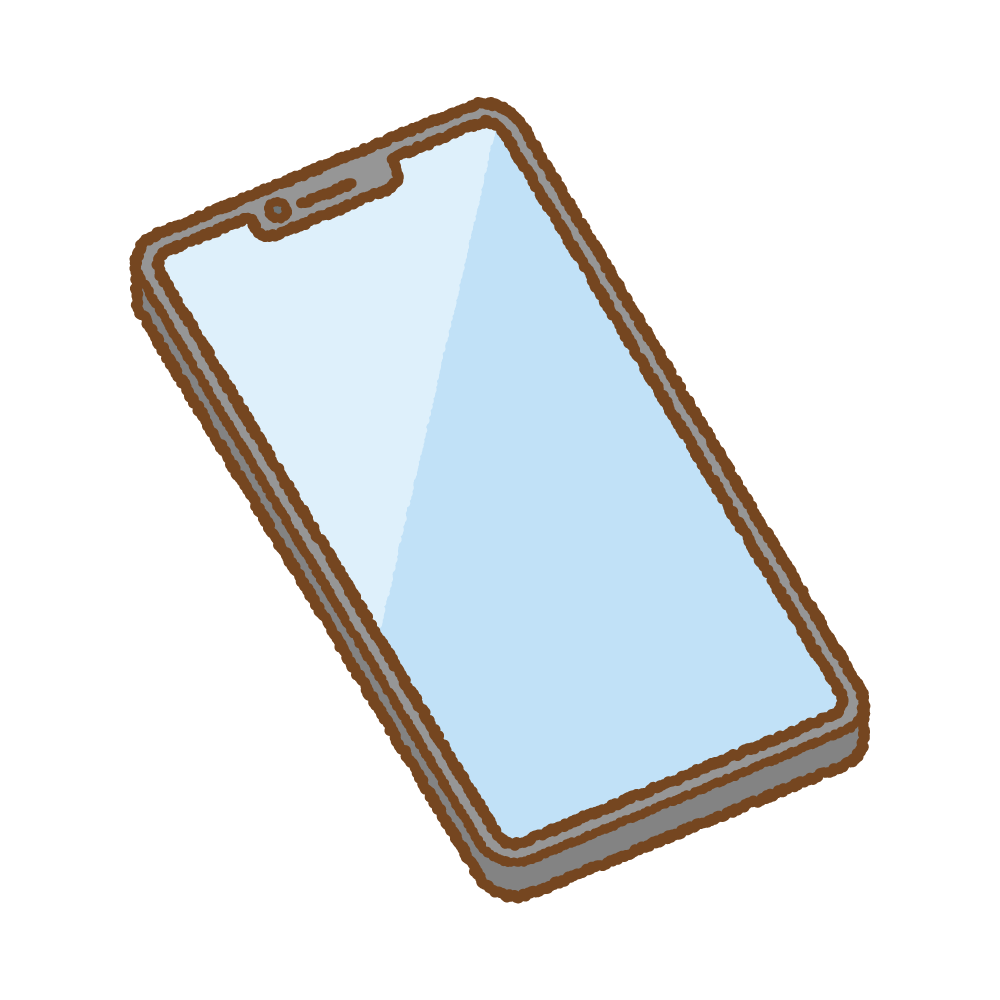 ノッチデザインのスマートフォンのフリーイラスト Clip art of notch smartphone