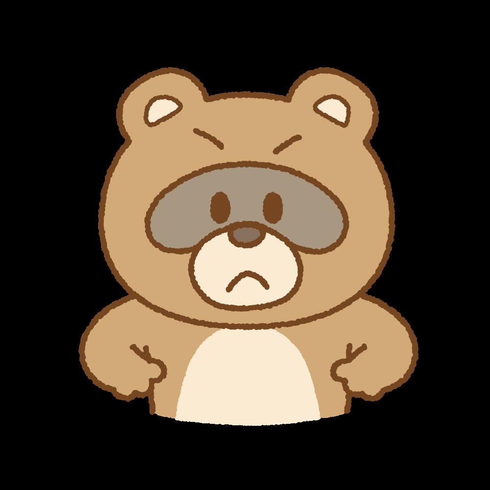 怒るタヌキのフリーイラスト Clip art of tanuki-angry