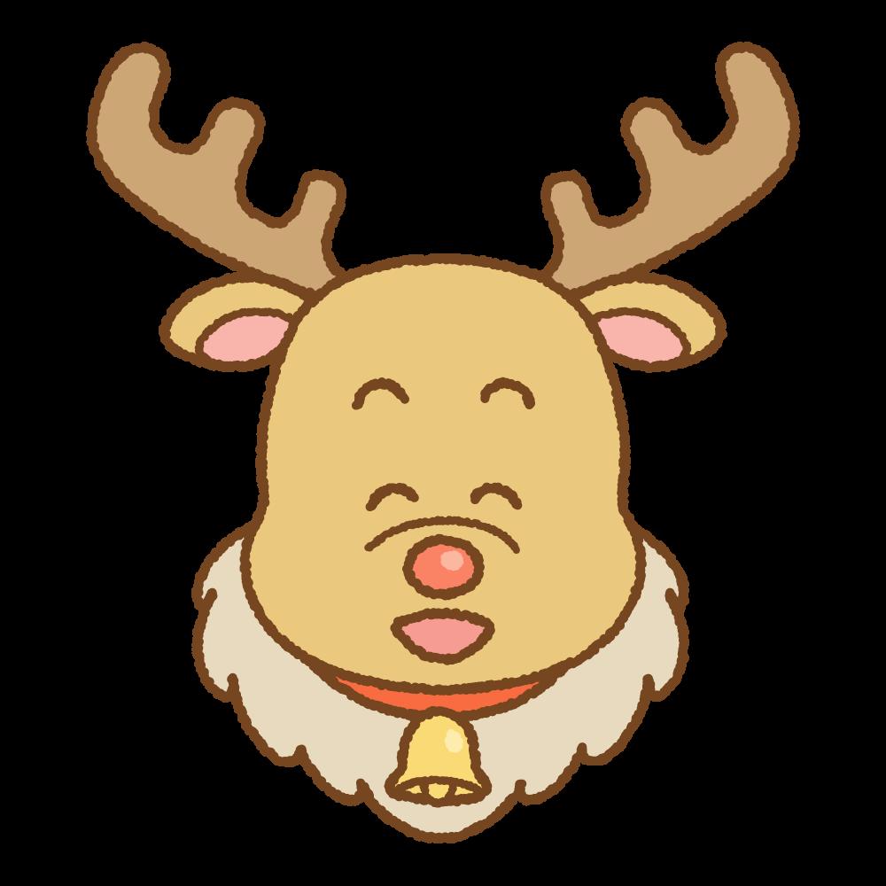 トナカイの顔のフリーイラスト Clip art of xmas-reindeer-face